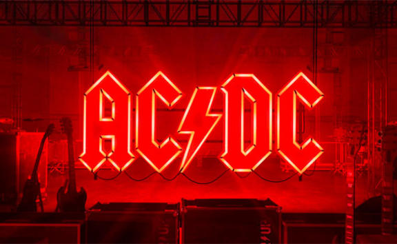 AC/DC logo in red neon