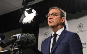 South Australian Premier Steven Marshall speaks at a press conference in Adelaide during day one of total lockdown across the state on November 18, 2020.