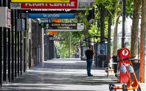 An empty street in Adelaide during day one of total lockdown across the state on November 18, 2020.