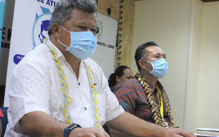 Samoa Health Director Leausa Dr Take Naseri, left, and Agafili Tomaimano Shem Leo, chair of the National Emergency Operation Centre.
