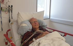 Alastair McDougall, who suffered a stroke, has been moved into a new room in Waipapa.