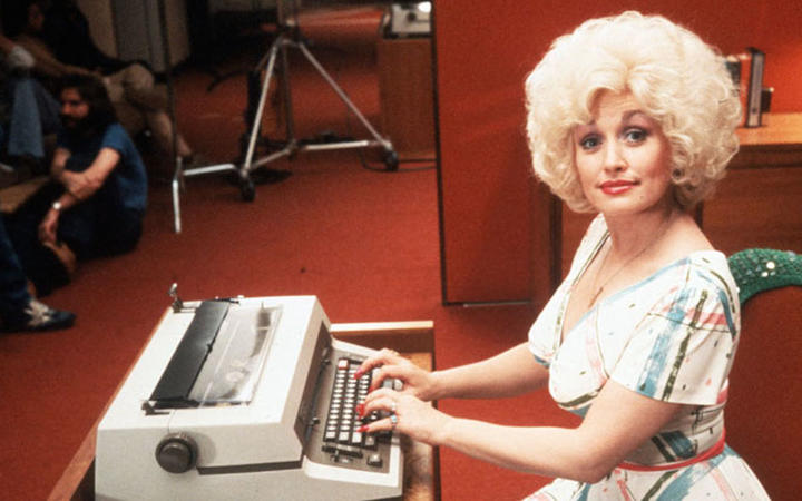 Dolly Parton on the set of her first film 9 to 5 in 1980