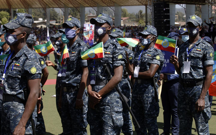 Ethiopians gather to show their support to federal government forces fighting against the Tigray People's Liberation Front (TPLF) at Abebe Bikila Stadium in Addis Ababa, Ethiopia on November 17, 2020.