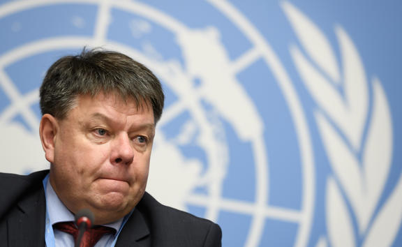 World Meteorological Organization (WMO) secretary-general Petteri Taalas attends a press conference on the publishing of the annual Greenhouse Gas Bulletin on atmospheric concentrations of CO2 on November 25, 2019 in Geneva.