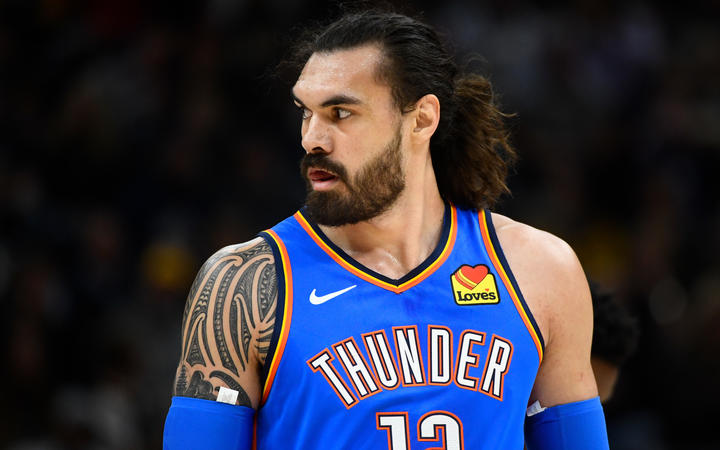Steven Adamsof the Oklahoma City Thunder looks on during a opening night game against the Utah Jazz at Vivint Smart Home Arena on October 23, 2019.