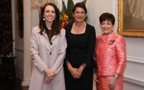 Prime Minister Jacinda Ardern, Poto Williams Minister for Police, Building and Construction and Associate Minister for Children and Public Housing; and Governor-General Dame Patsy Reddy.