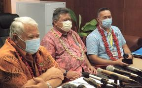 PM Tuila'epa, (left), Director of Health Leausa Dr Take Naseri and Interim Chair of the NEOC, Agafili Tomaimano Shem Leo
