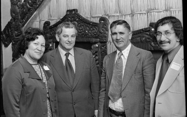 Sir Graham Latimer, second from right, with Wairarapa and Wellington leaders at Parliament in 1977.