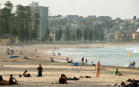 Beachgoers at Manly, Sydney.