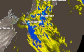 Heavy rain in Wellington.