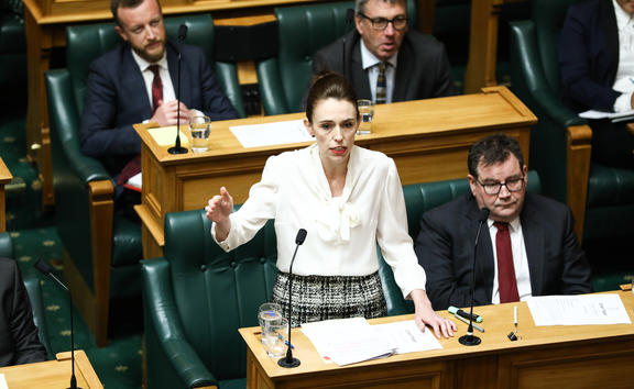The Prime Minister Jacinda Ardern moves a motion declaring a climate emergency