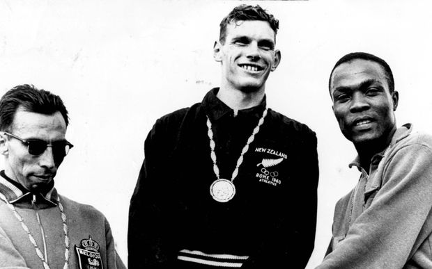 Peter Snell wins gold at the Rome Olympics for the mens 800m, 1960.
