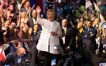 Democratic presidential candidate Hillary Clinton arrives onstage to deliver her victory speech.