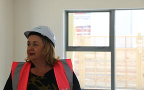 Housing Minister Megan Woods at the opening of new Kainga Ora apartments in New Lynn.