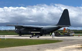 A C-130 Hercules has delivered Unimog parts and PPE gear to Tonga