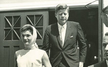 Keeping a watchful eye as Presidentand Mrs. Kennedy exit St. FrancisXavier Church in Hyannis Port.