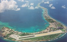 Aerial view of the main island in Kwajalein Atol
