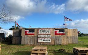 Ihumātao occupiers gathered to mark a year since the eviction notice for the disputed land was served, 23 July 2020.