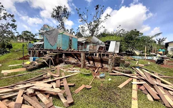 Damage to a house on Vanua Levu