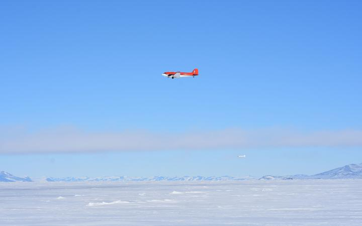The ice thickness was measured using a Basler BT-67 (a modified DC-3) plane towing a piece of equipment called an EM Bird underneath.