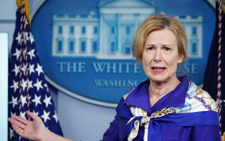 (FILES) In this file photo taken on May 22, 2020 Response coordinator for White House Coronavirus Task Force Deborah Birx  speaks to the press, in the Brady Briefing Room of the White House in Washington, DC.