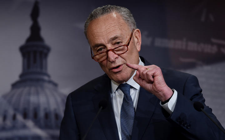 US Senate Minority Leader Chuck Schumer speaks at a press conference on US President Donald Trump's Impeachment trial on January 21, 2020 in Washington, DC.