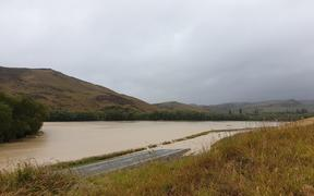 Flooded Taieri River in Central Otago.