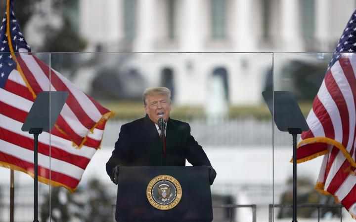 """WASHINGTON, DC - JANUARY 06: President Donald Trump speaks at the """"Stop The Steal"""" Rally on January 06, 2021 in Washington, DC."""
