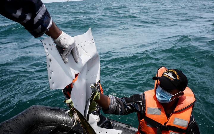 Indonesian Navy find parts of wreckage of Indonesian Sriwijaya Air Flight 182 Boeing 737, at Java Sea, in Jakarta, Indonesia on January 12, 2021.