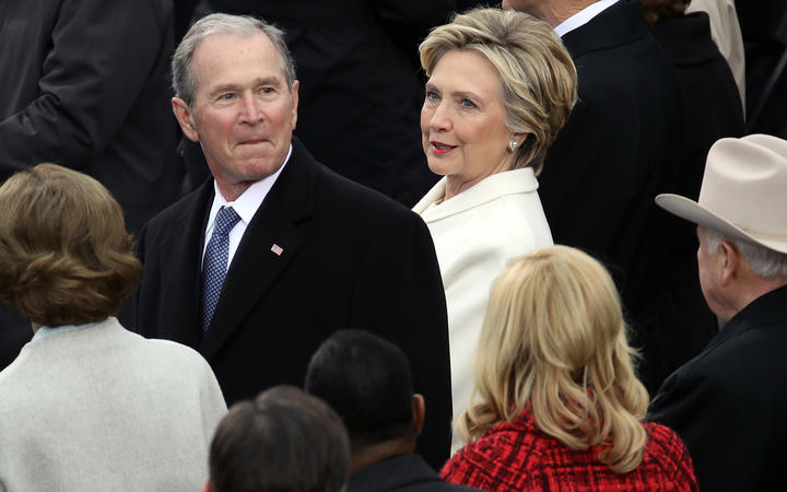 Democratic presidential candidate Hillary Clinton, at right, with former President George W. Bush at the inauguration ceremony.