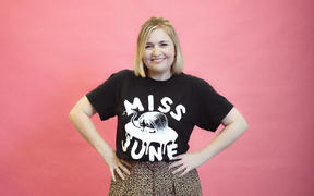 Music 101 host Charlotte Ryan in her Miss June t-shirt