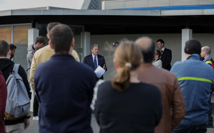 NZ First leader Winston Peters visits Tiwai Point while campaigning on 9 September 2020.