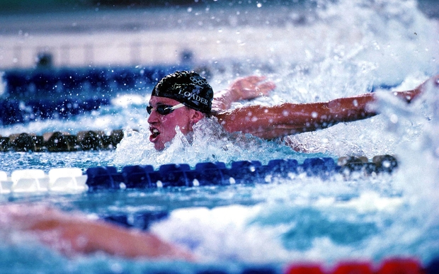 Danyon Loader (NZL) during the mens 200m butterfly at the Olympic Games in Atlanta, USA in 1996.
