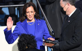 Kamala Harris is sworn in as the 49th US Vice President.