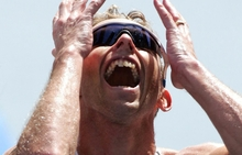 Gold Medalist Hamish Carter shows his delight at winning gold, Athens 2004.