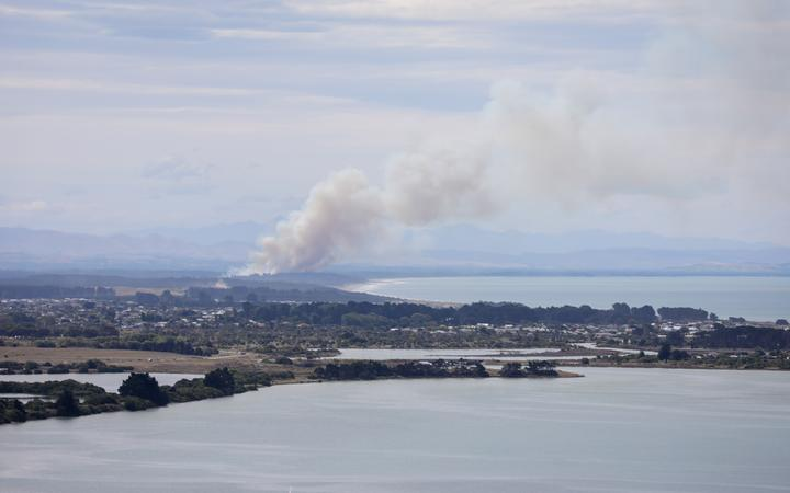 A fire at Pines Beach, near Kaiapoi north of Christchurch, on 25 January.