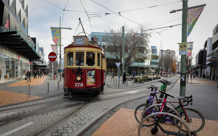Generic street shot of Christchurch City with tram