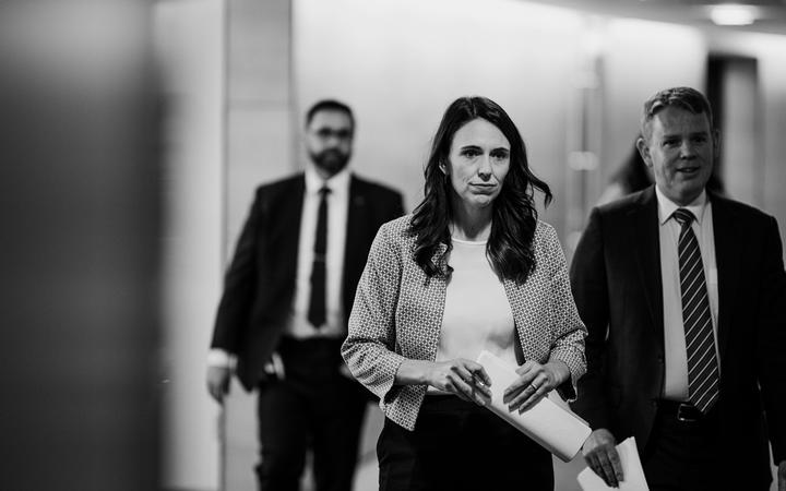 Prime Minister Jacinda Ardern walking into the first post-Cabinet conference of 2021 on 26 January.