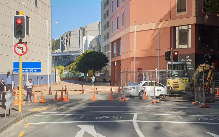 Work continues on the burst pipe.