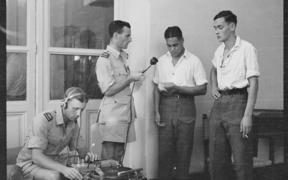 John Proudfoot and Charles Lewis recording repatriated POWs Egypt Nov 1943