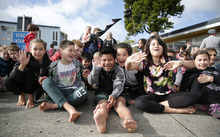More than 300 people gathered for the start of the hikoi in New Plymouth.