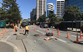 A sinkhole has opened up in central Wellington, outside the TSB arena.