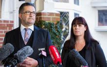 Members of Teina Pora's legal team - Jonathan Krebs, left, and Ingrid Squire - speak to reporters on 15 June 2016.