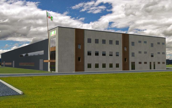 Artist impression of New Zealand Functional Foods' plant-based milk factory.