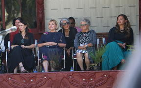 Prime Minister Jacinda Ardern, National Party leader Judith Collins and Greens co-leader Marama Davidson (on far right) at Te Whare Rūnanga on 4 February, 2021.