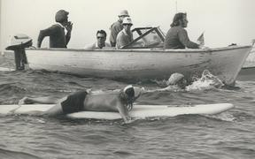 Long distance swimmer Lynne Cox crossing Cook Strait on 4 February 1975