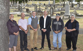Members of the Kiwa advisory group met with council staff at Taruheru Cemetery on Friday; from left, Owen Lloyd, Samuel Lewis, council project manager Wolfgang Kanz, Ian Ruru, David Hawea and Keith Katipa.