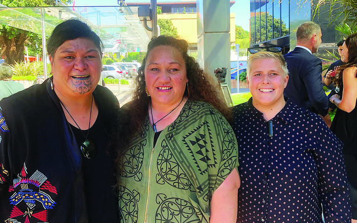 Whakatāne Māori wards campaigners Toni Boynton and Danae Lee (centre and left) are excited there may soon be Māori wards on the Whakatāne District Council following Local Government Minister Nanaia Mahuta's (left) announcement the government will be looking at changing the law.