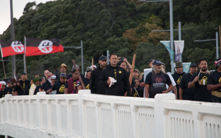 About 300 Ngāti Whātua Ōrākei iwi members marched from Ōrākei Marae to the Auckland High Court on 9 February, 2021.