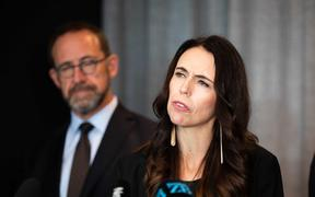 Prime Minister Jacinda Ardern, with Health Minister Andrew Little, left, announces the first batch of Pfizer-BioNTech vaccines is due to arrive next week.